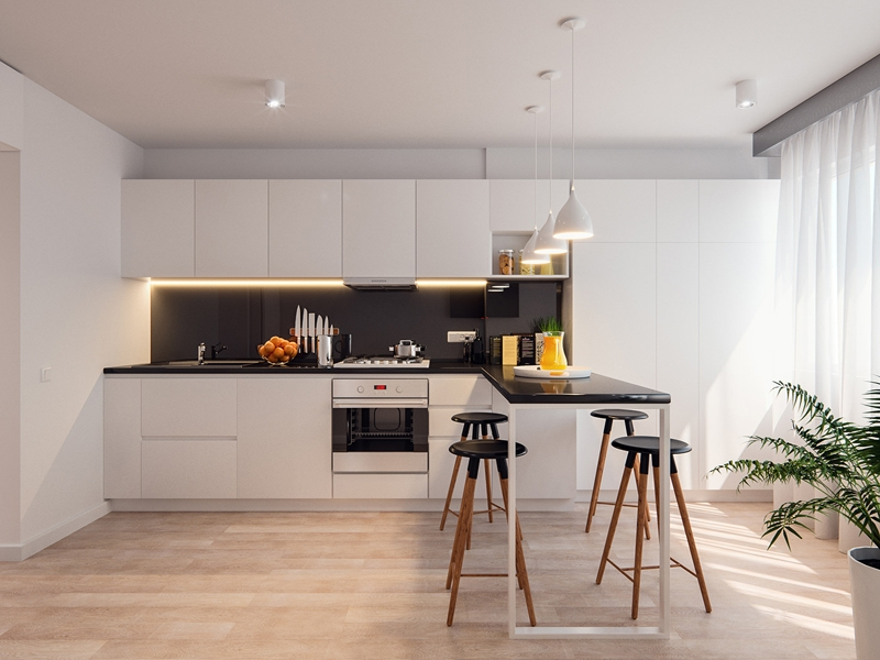 Tủ bếp đẹp màu trắng MS050